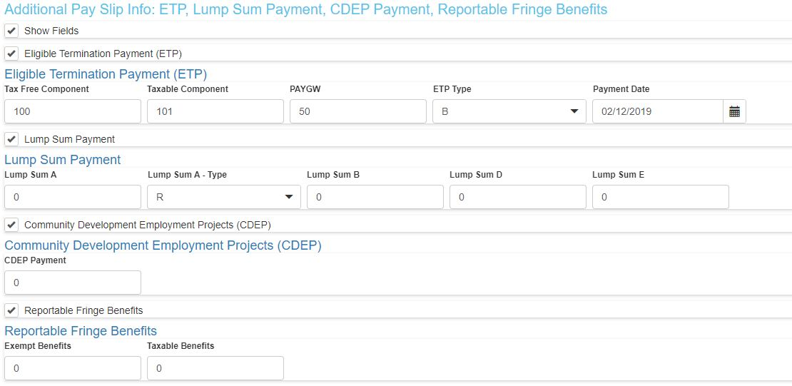 How to Report Eligible Termination Payment (ETP), Lump Sum Payment, Reportable Fringe Benefits and CDEP